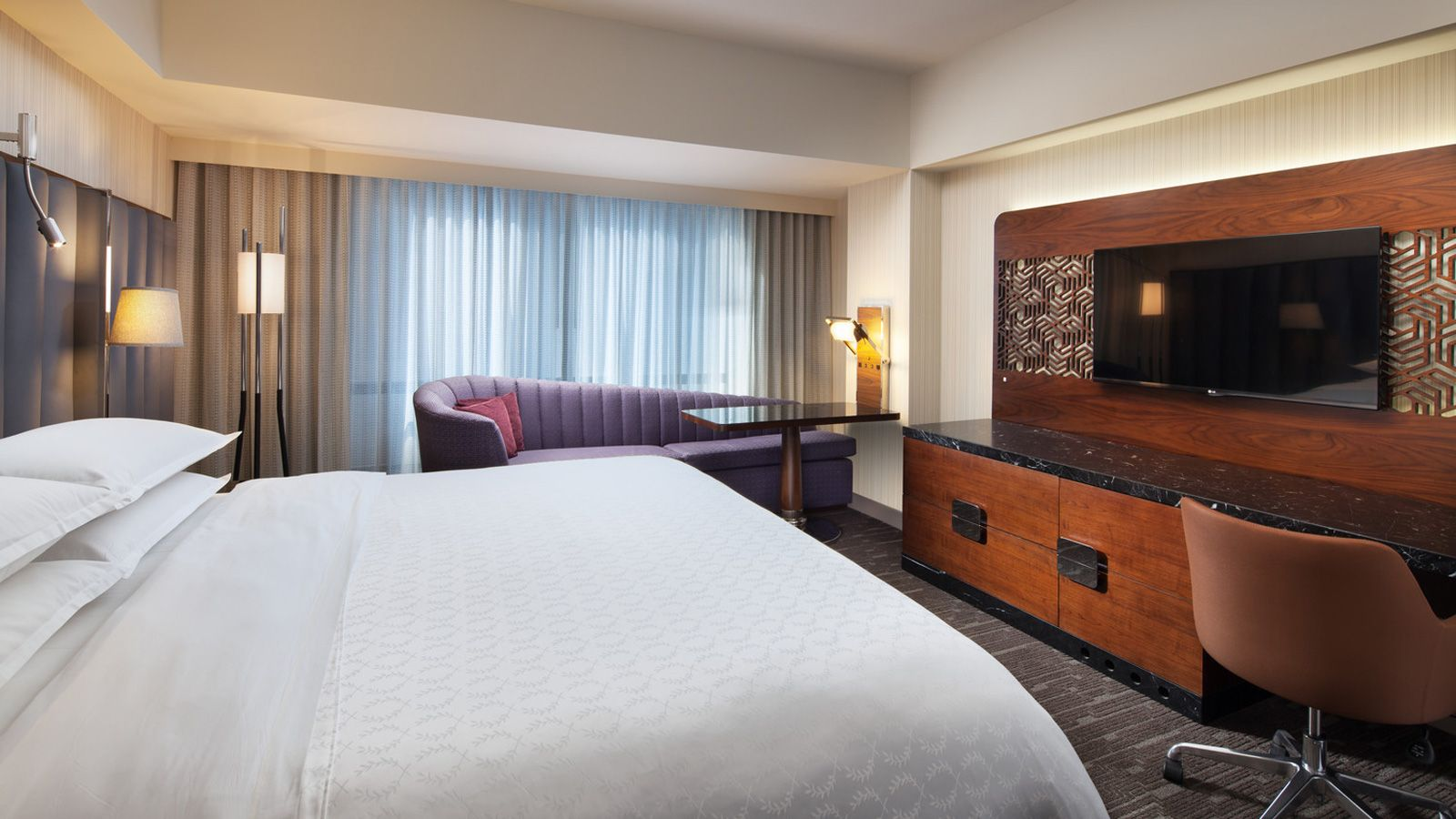 Los Angeles Lodging  Club Level Room  Sheraton Grand Los. Round Dining Room Tables Seats 8. Furniture For Living Room. White Dining Room Chair Covers. House Decor Ideas. Decorative Backyard Windmill. Decorating Large Walls. Pottery Barn Dining Room Table. Microfiber Living Room Set